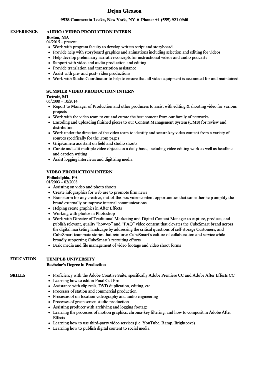 Video Production Intern Resume Samples Velvet Jobs - Tv internship resume examples