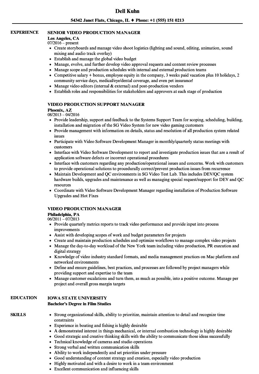 Video Production Manager Resume Samples | Velvet Jobs