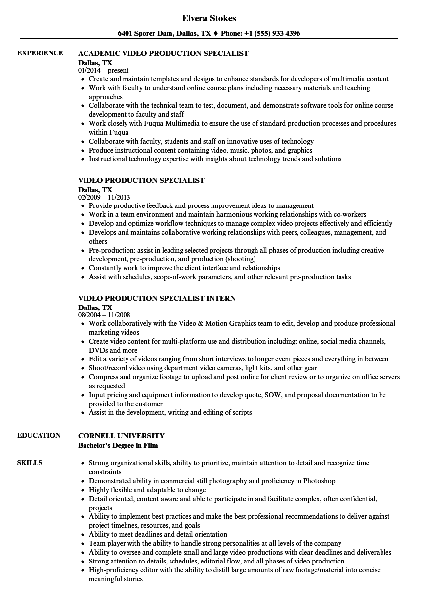 video production specialist resume samples