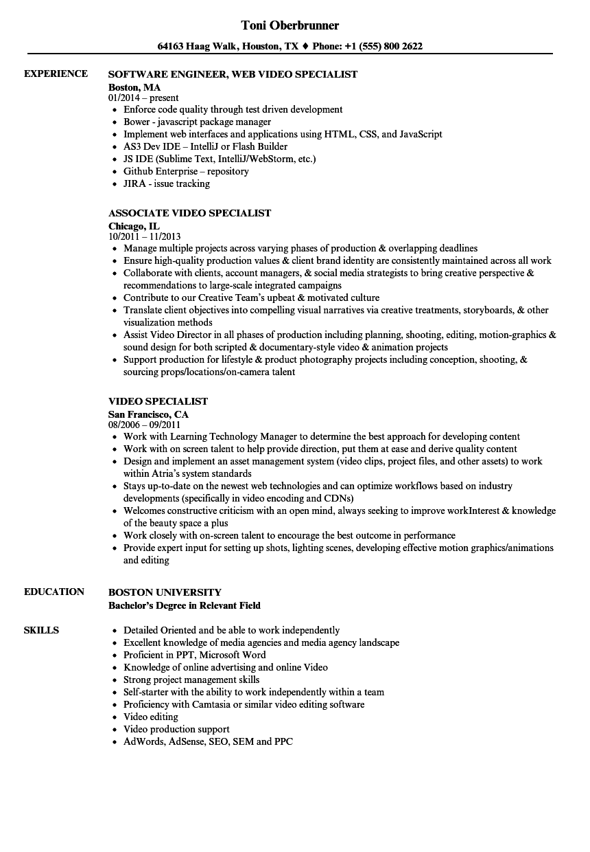 Video Specialist Resume Samples | Velvet Jobs