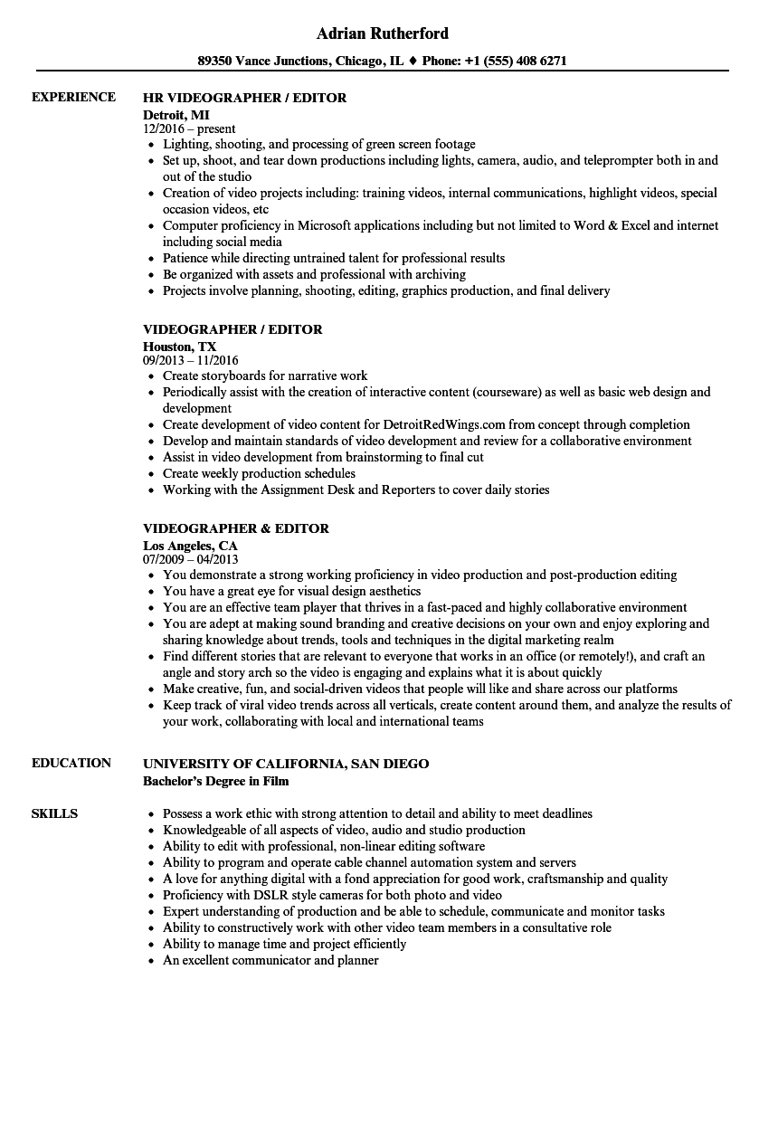 videographer editor resume samples