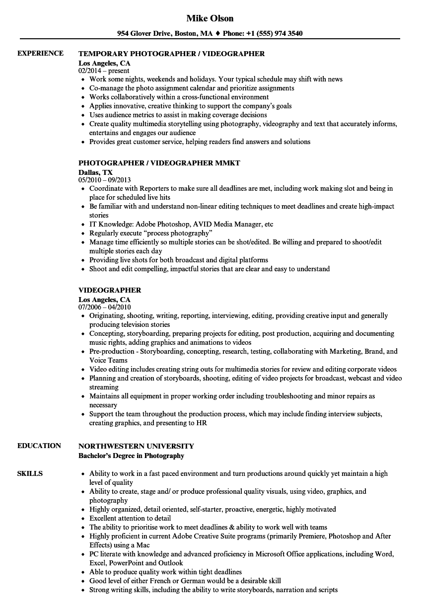 resume for videographer