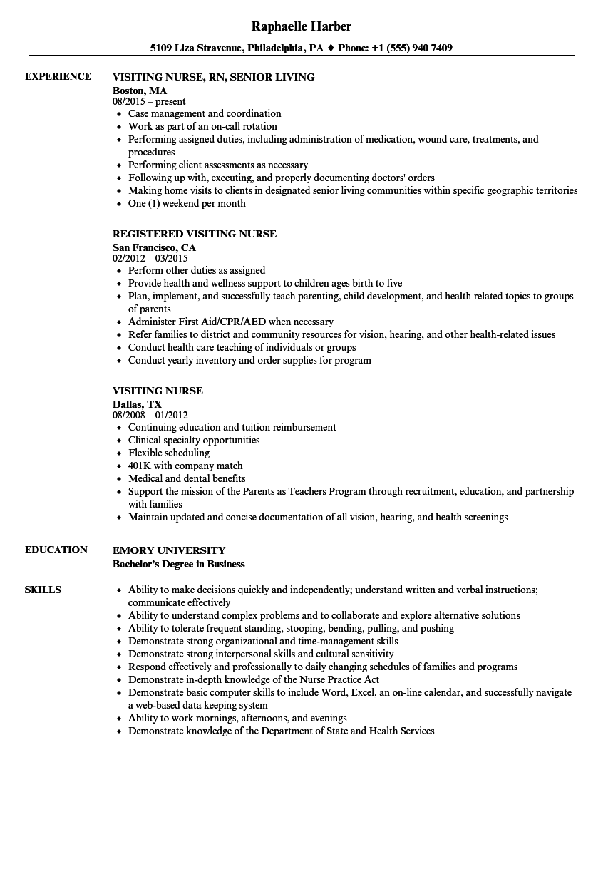 Download Visiting Nurse Resume Sample As Image File