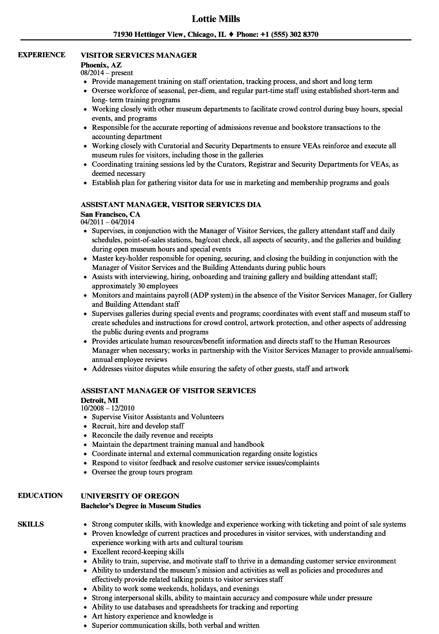 Visitor Services Manager Resume Samples Velvet Jobs