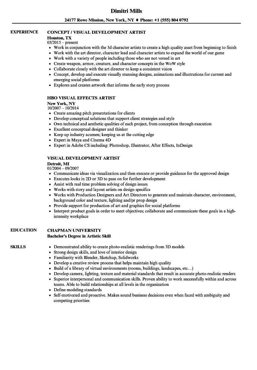 Visual Artist Resume Samples Velvet Jobs