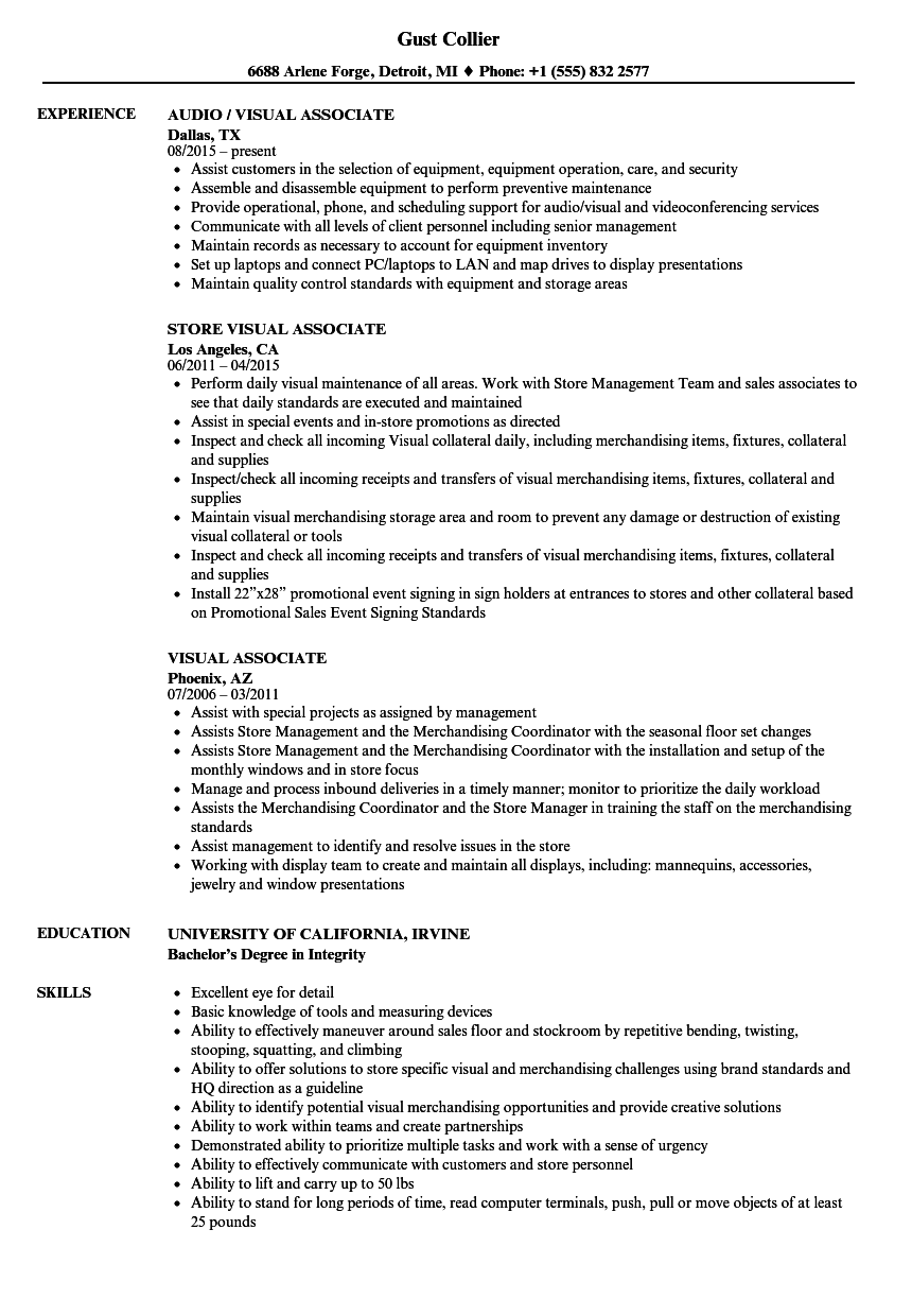 Visual Associate Resume Samples | Velvet Jobs