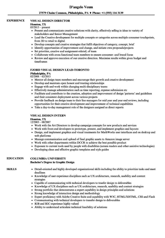 Visual Design Resume Samples | Velvet Jobs