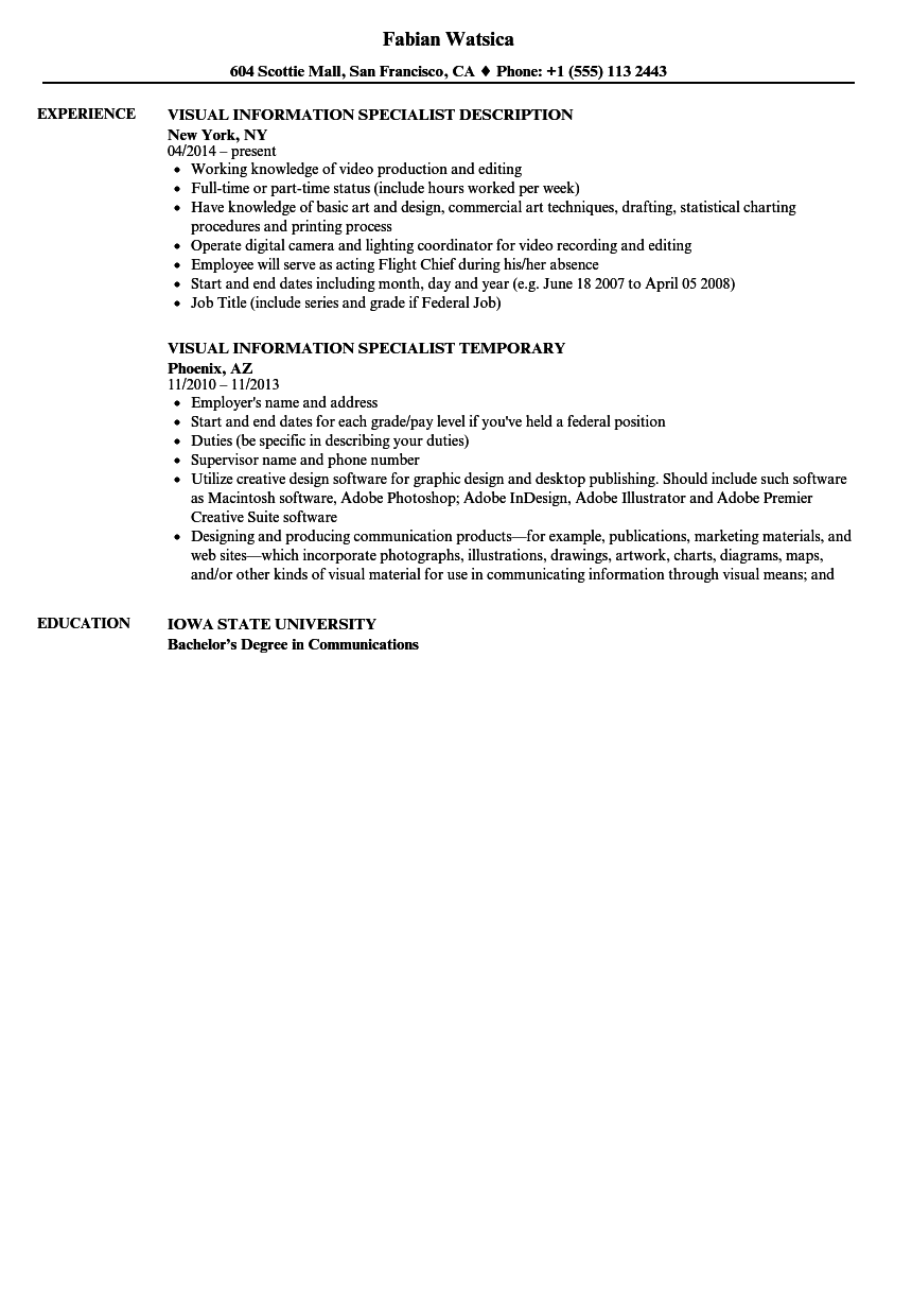 Download Visual Information Specialist Resume Sample As Image File