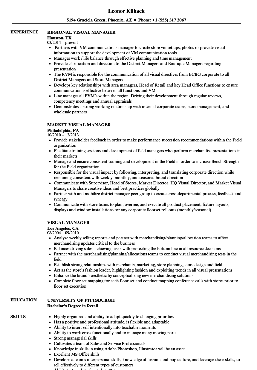 Visual Manager Resume Samples Velvet Jobs