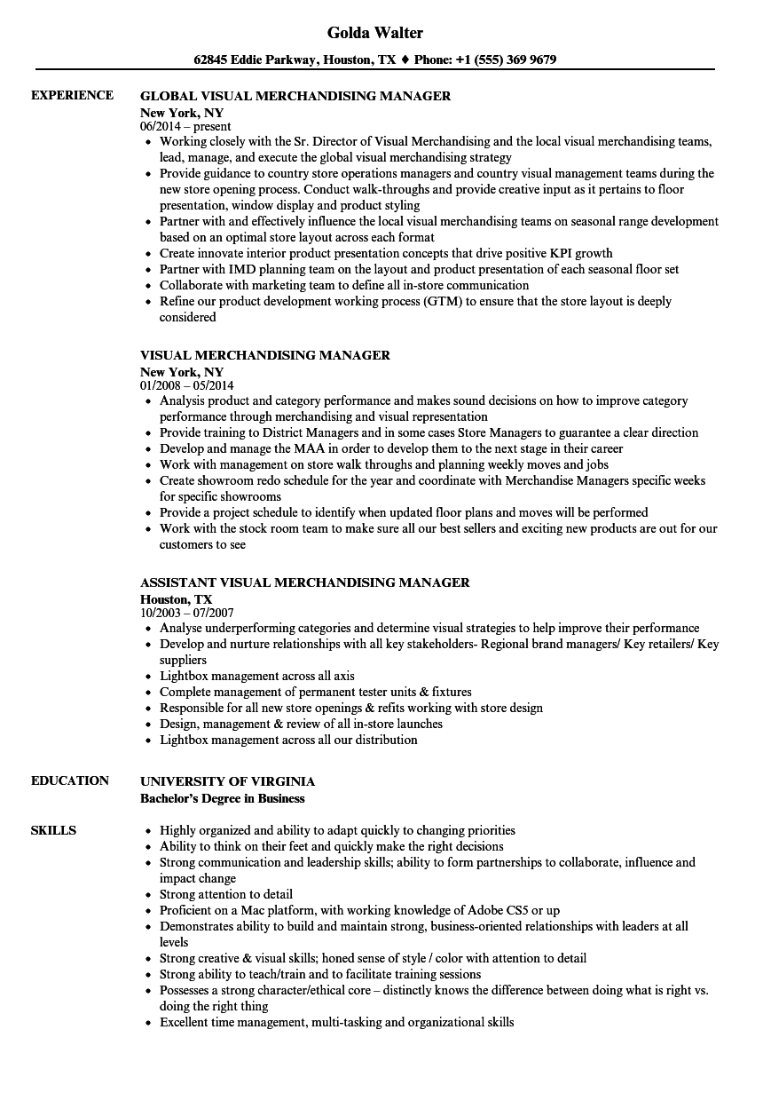 Visual Merchandising Manager Resume Samples Velvet Jobs