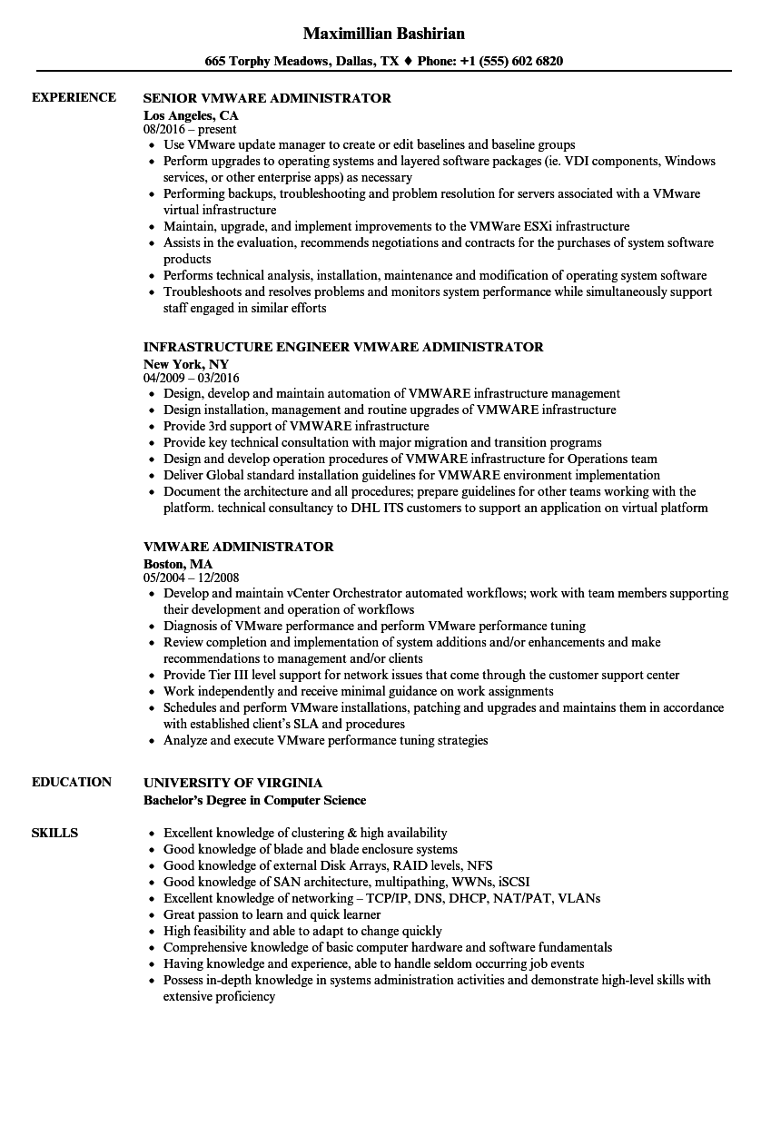 Vmware Administrator Resume Samples | Velvet Jobs