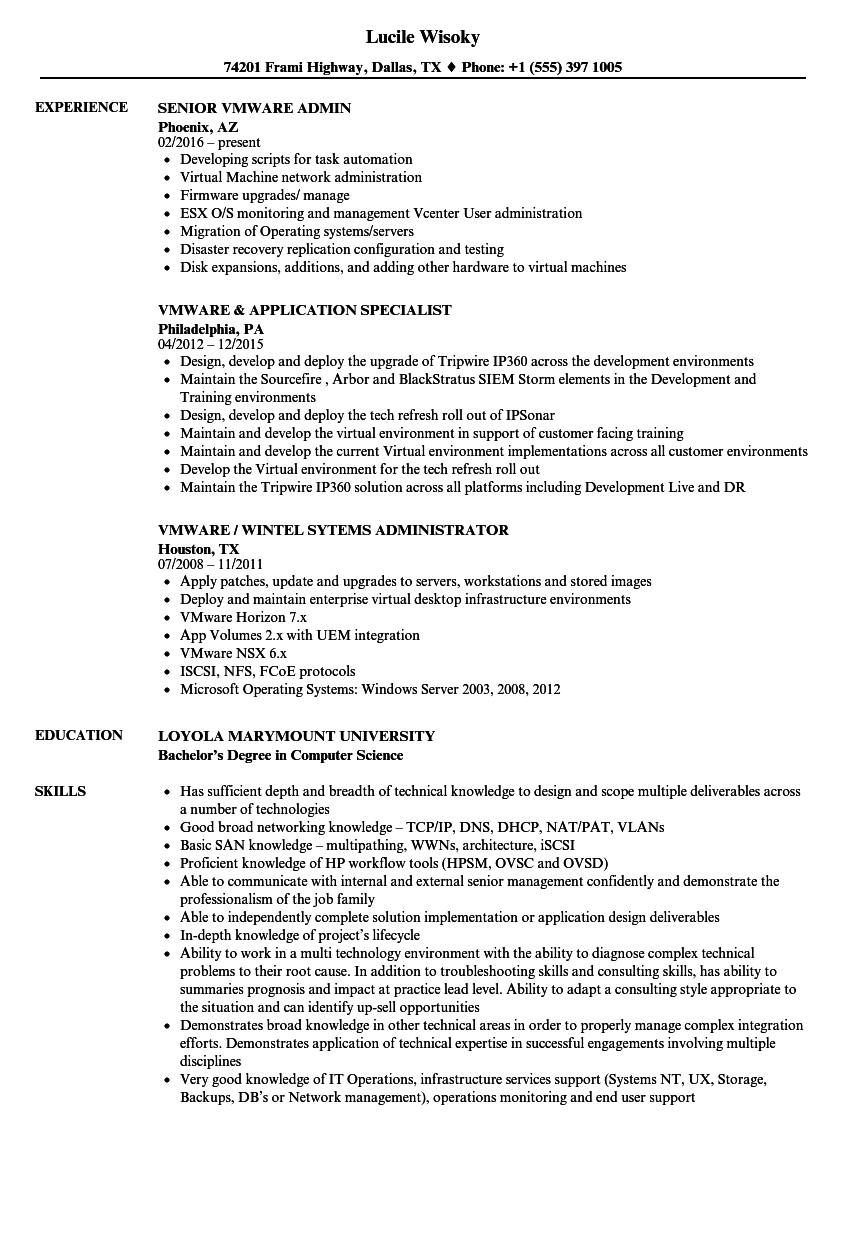 Vmware Resume Samples | Velvet Jobs
