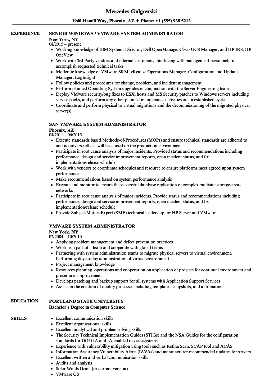 systems administrator sample resumes