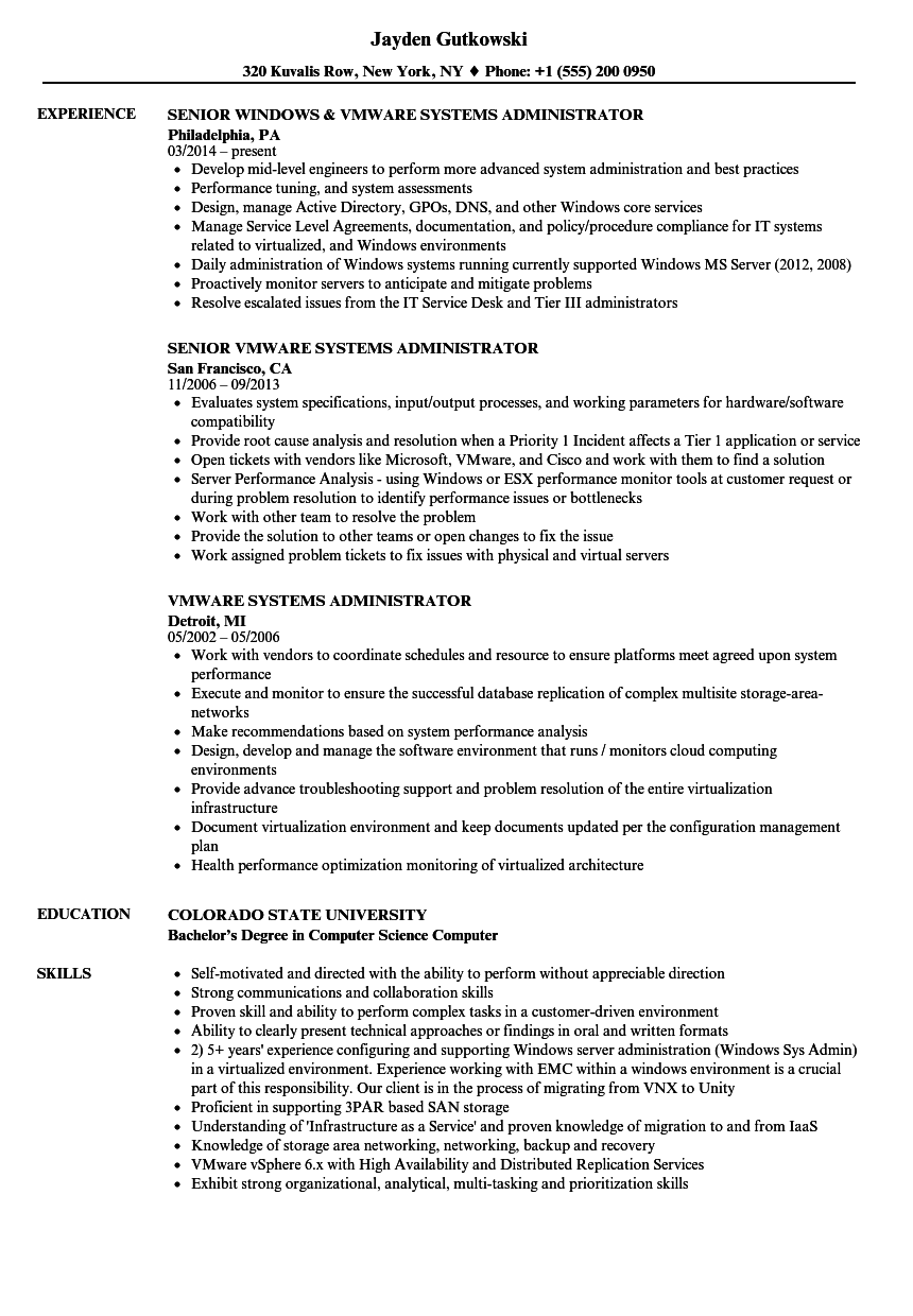 vmware systems administrator resume samples