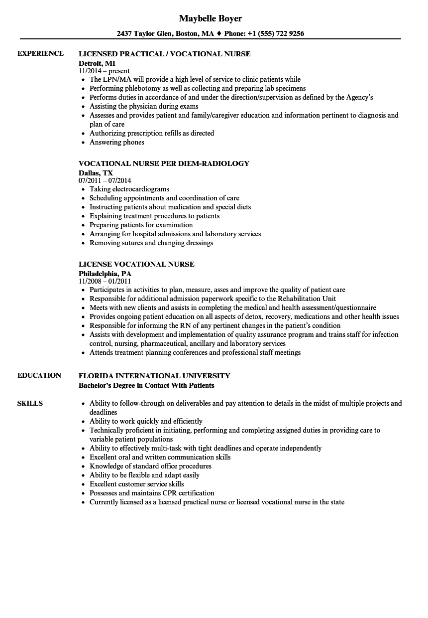 Vocational Nurse Resume Samples