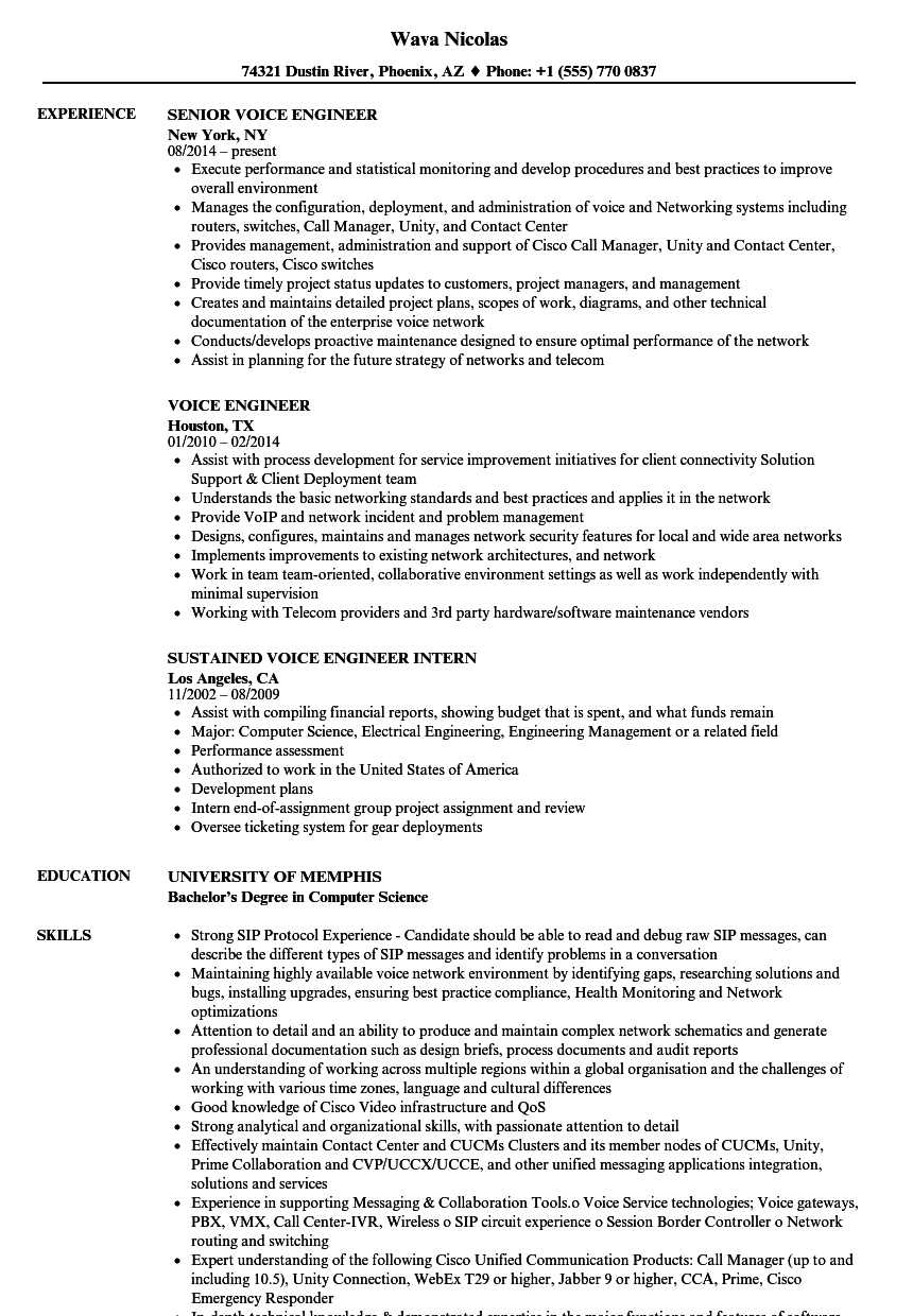 Download Voice Engineer Resume Sample As Image File