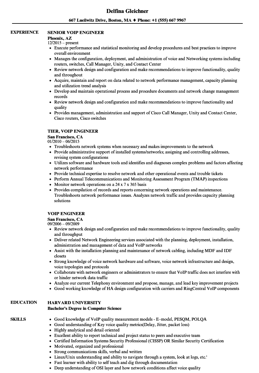 Voip Engineer Resume Samples | Velvet Jobs