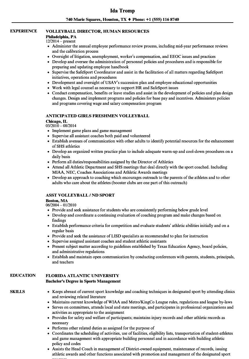Download Volleyball Resume Sample As Image File