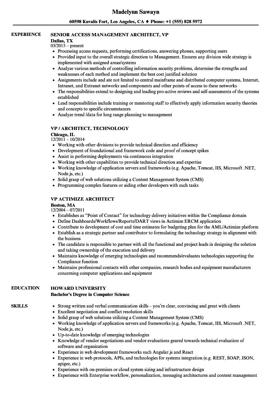 vp architect resume samples