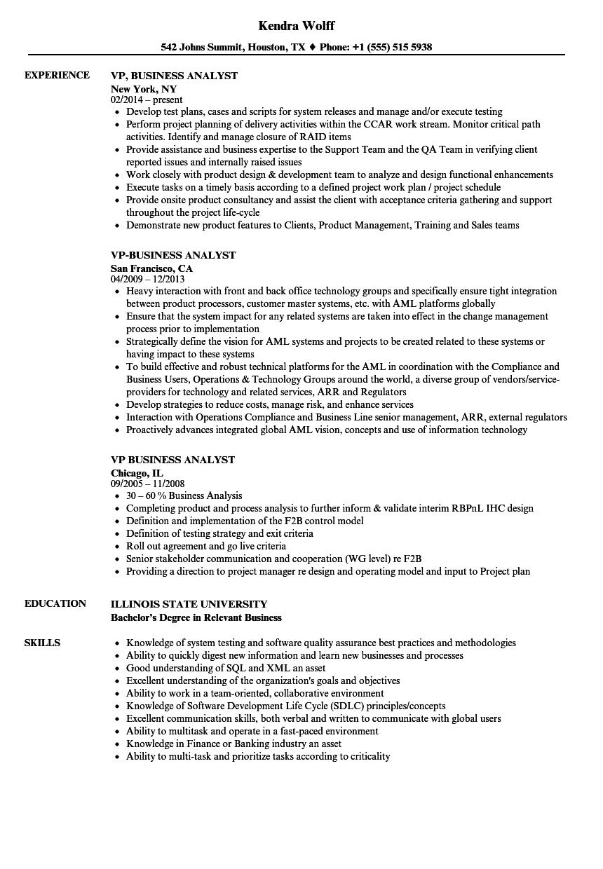 VP Business Analyst Resume Samples
