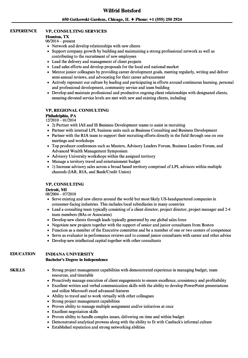 vp  consulting resume samples