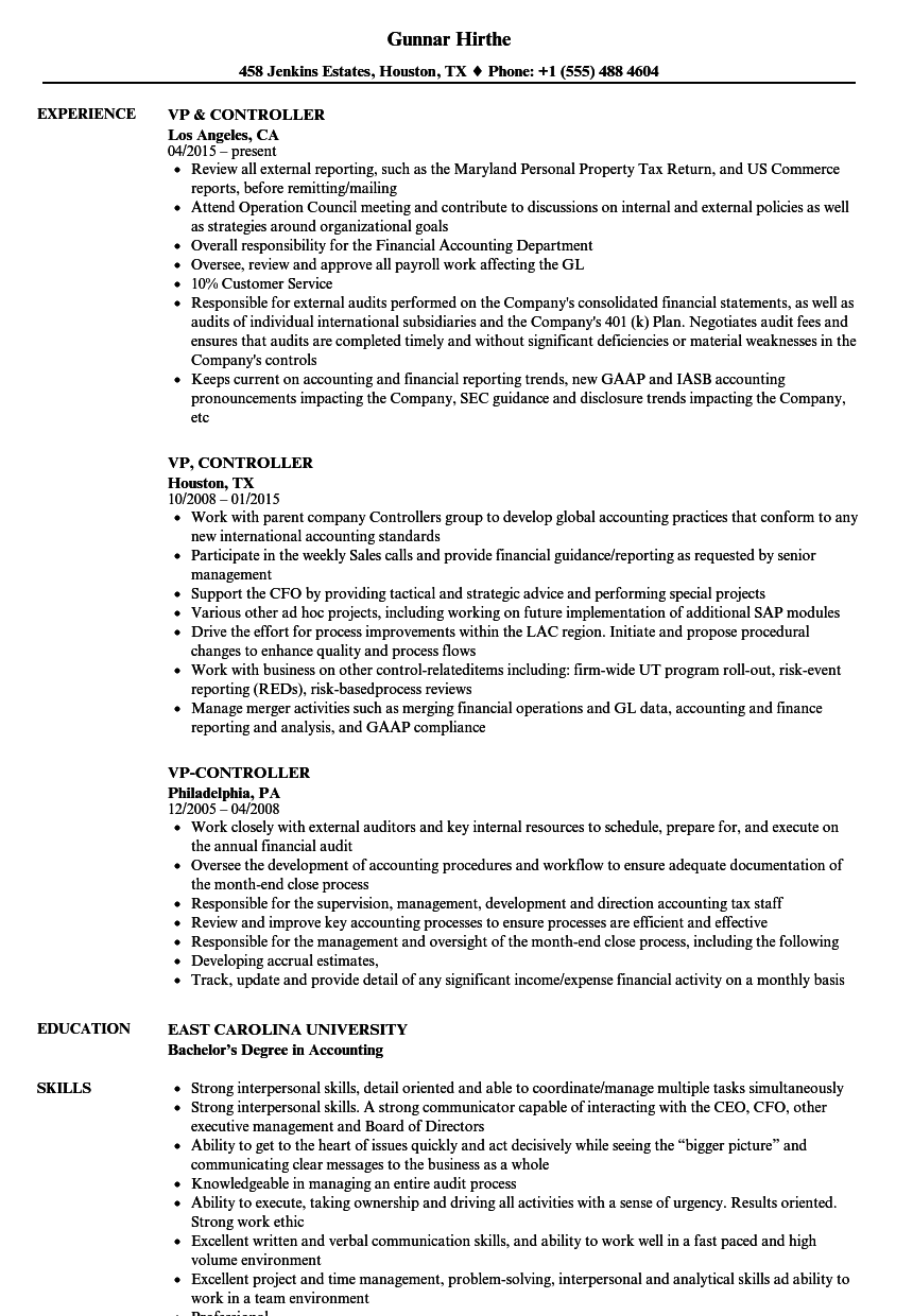 vp  controller resume samples