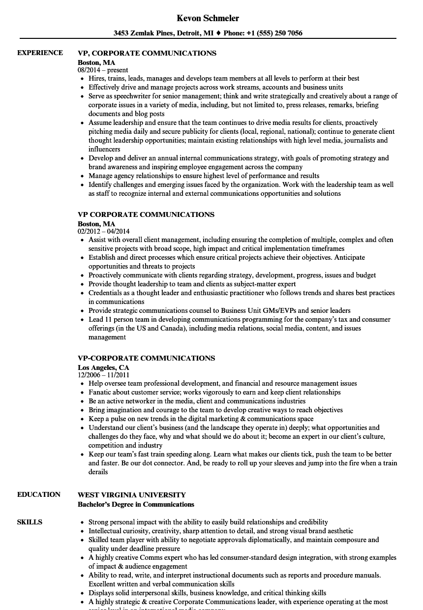 Vp Corporate Communications Resume Samples Velvet Jobs