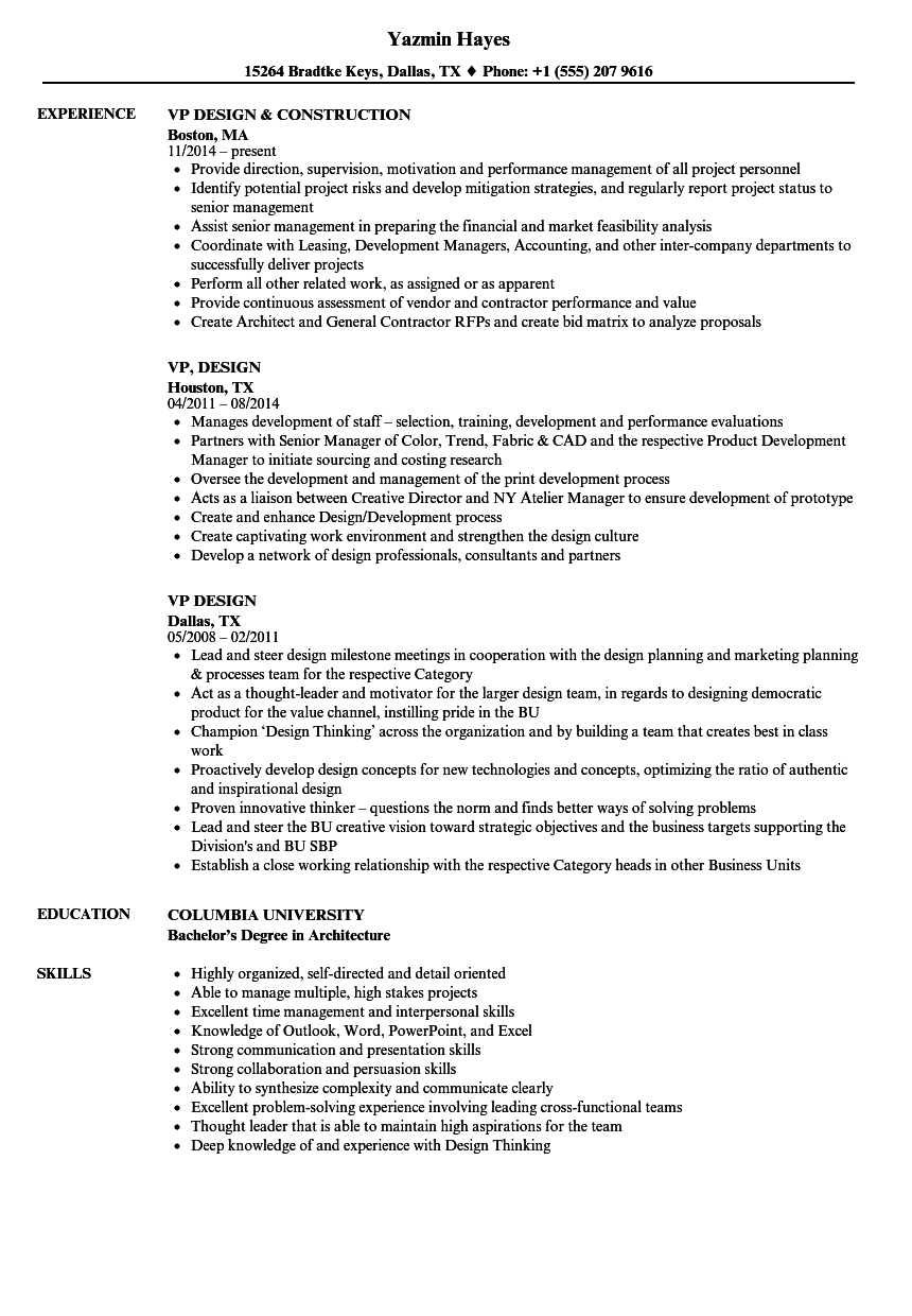 vp design resume samples