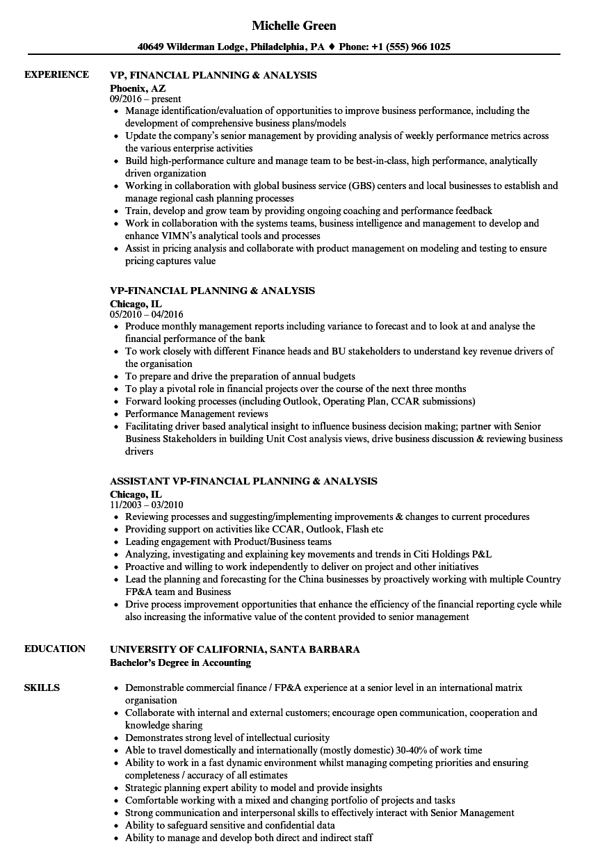 financial advisor sample resume. senior financial planning resume, Presentation templates