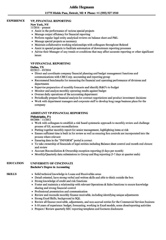VP, Financial Reporting Resume Samples | Velvet Jobs