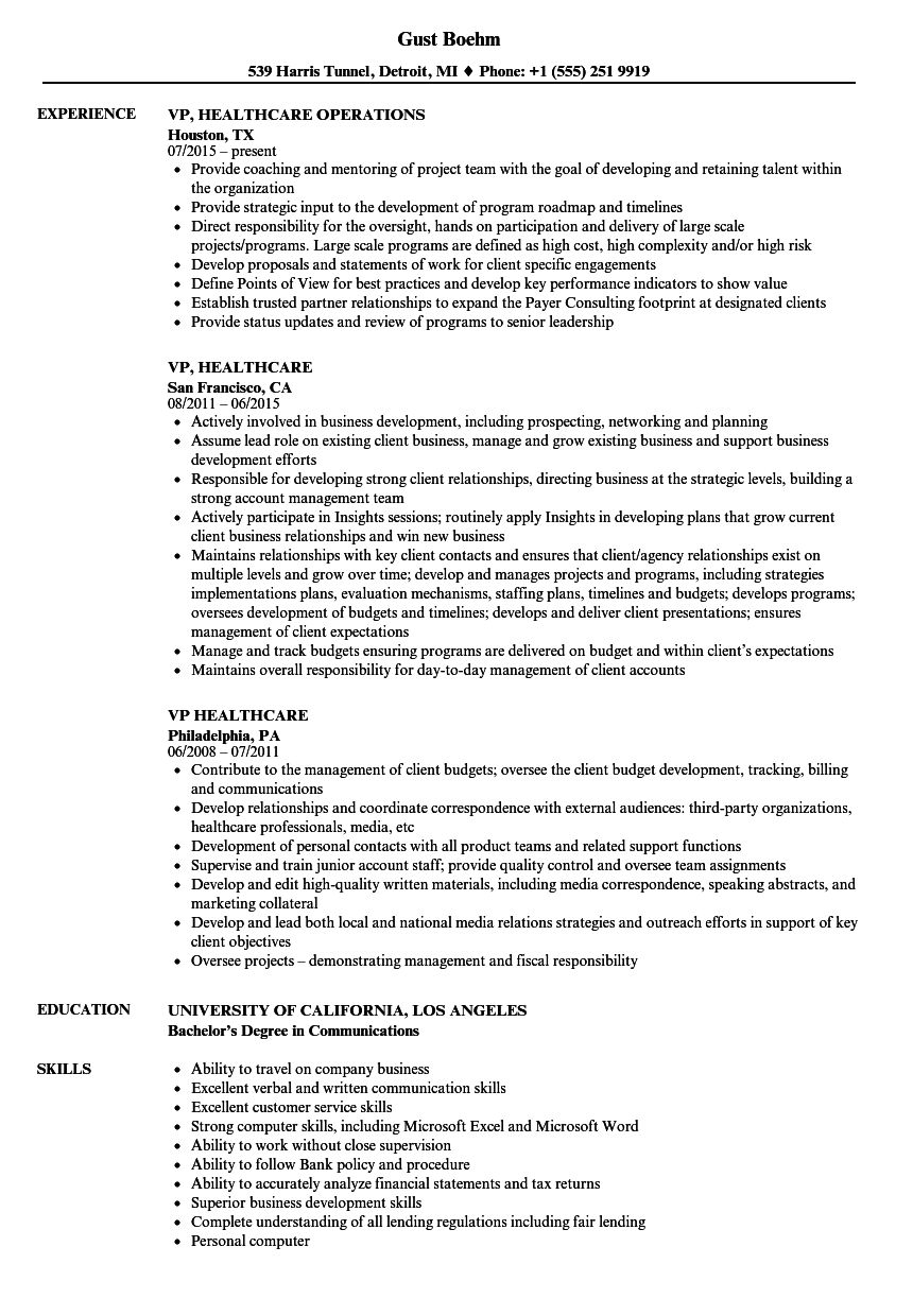 vp healthcare resume samples velvet jobs