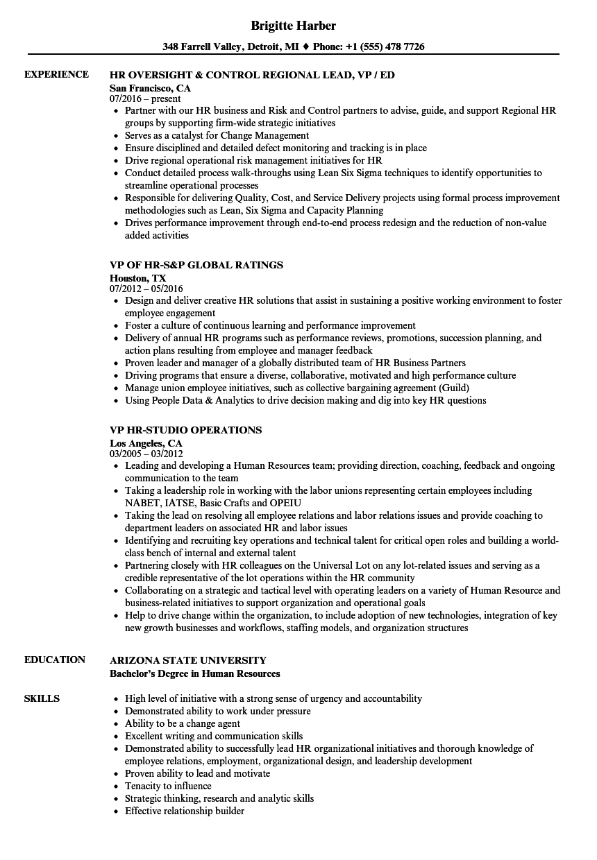 VP HR Resume Samples | Velvet Jobs