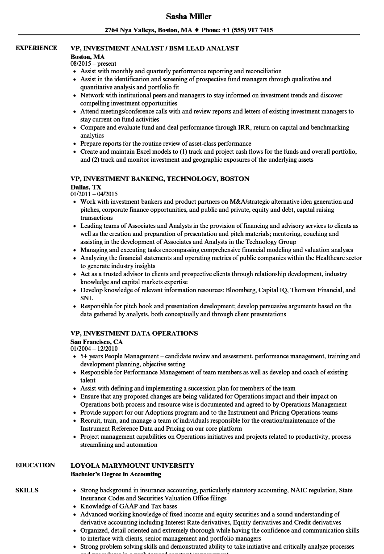 vp investment resume samples velvet jobs
