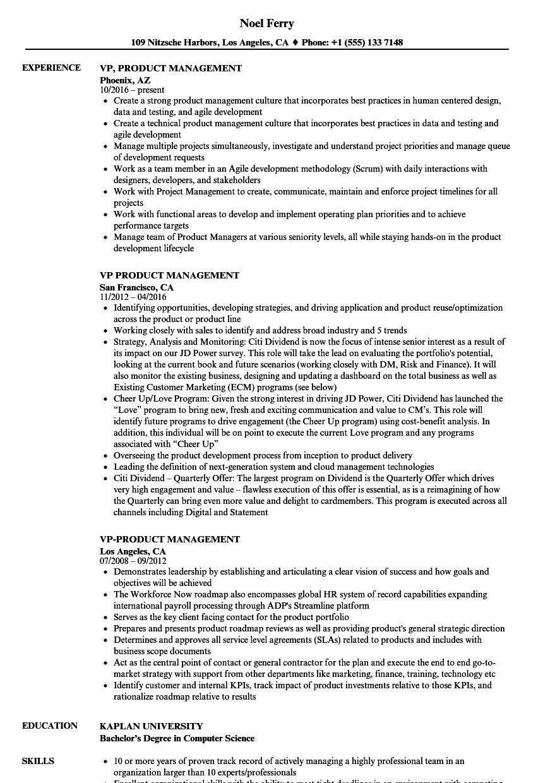 Velvet Jobs  Product Management Resume