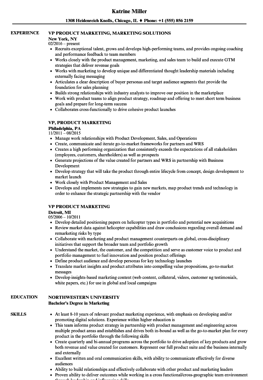 vp product marketing resume samples