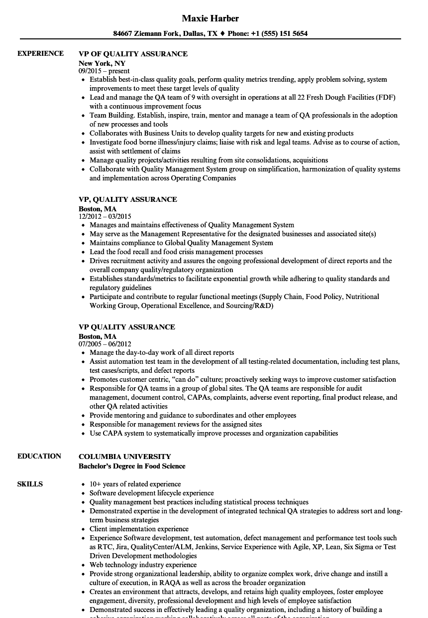 VP, Quality Assurance Resume Samples | Velvet Jobs
