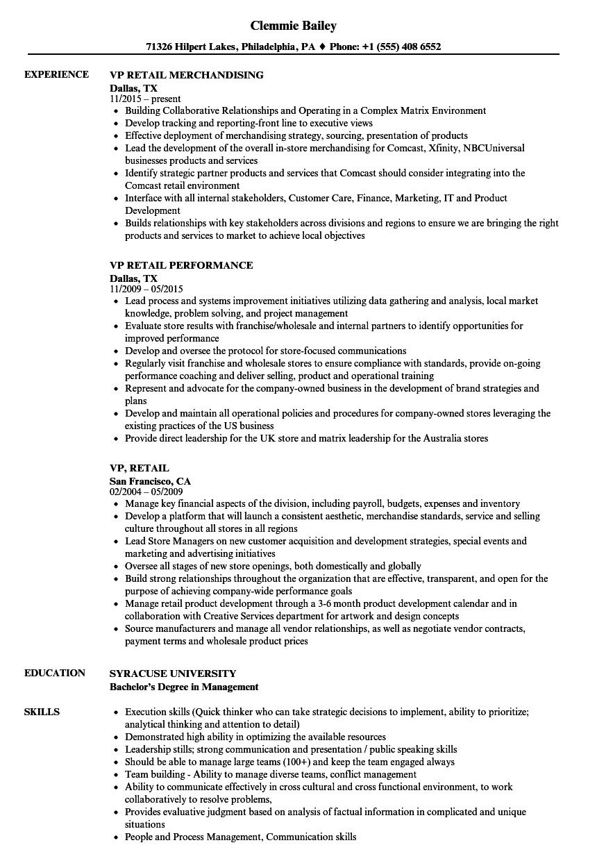Vp Retail Resume Samples Velvet Jobs