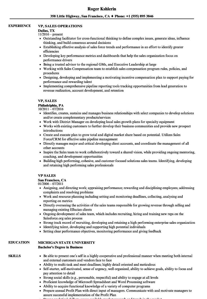 Velvet Jobs  Vp Of Sales Resume