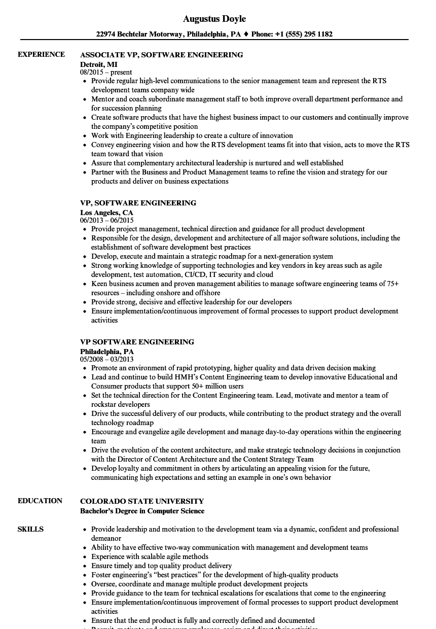 vp  software resume samples