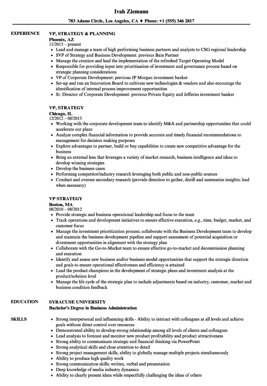 vp  strategy resume samples