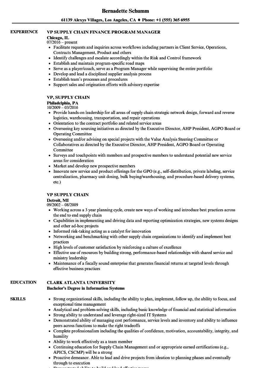 vp  supply chain resume samples