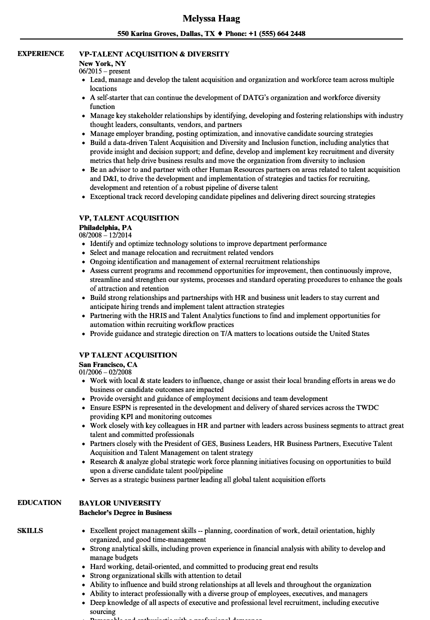 Delightful Download VP, Talent Acquisition Resume Sample As Image File Within Talent Acquisition Resume