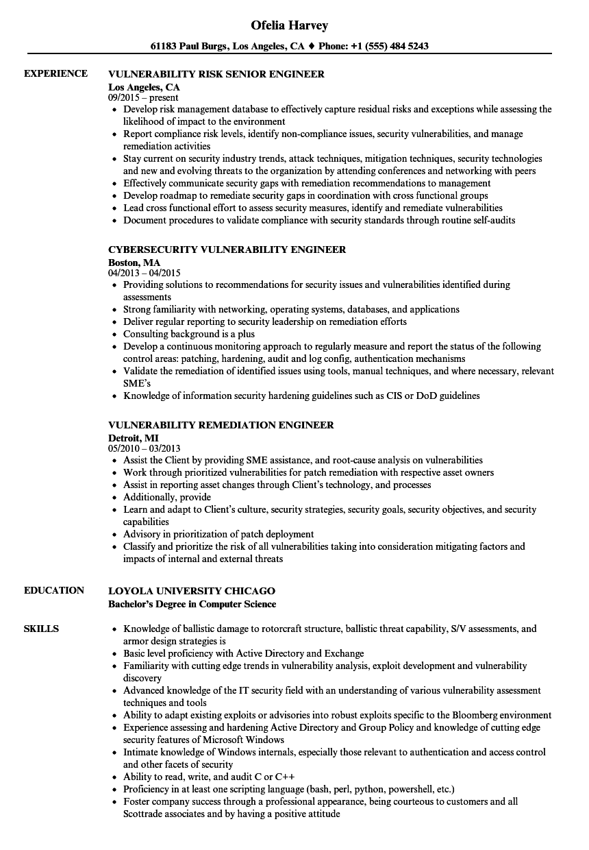 vulnerability engineer resume samples velvet jobs