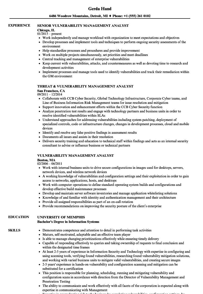vulnerability management analyst resume sles velvet