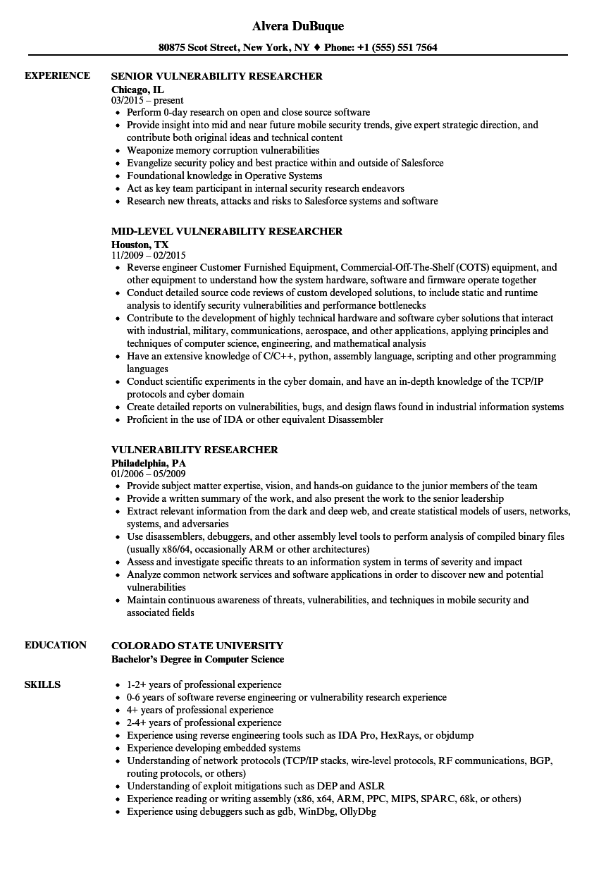 download vulnerability researcher resume sample as image file - Computer Science Research Resume