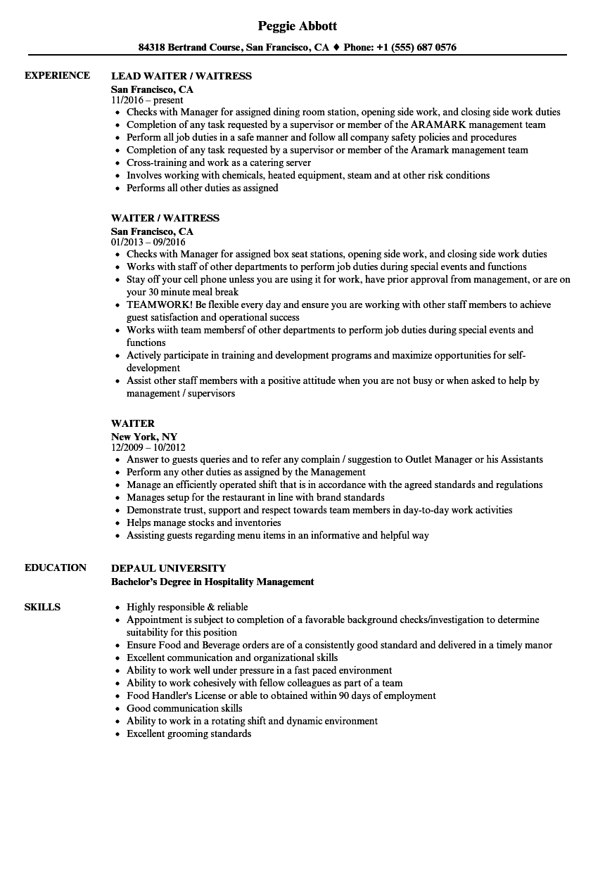 waiter resume samples velvet jobs - Waitress Resume Sample Skills