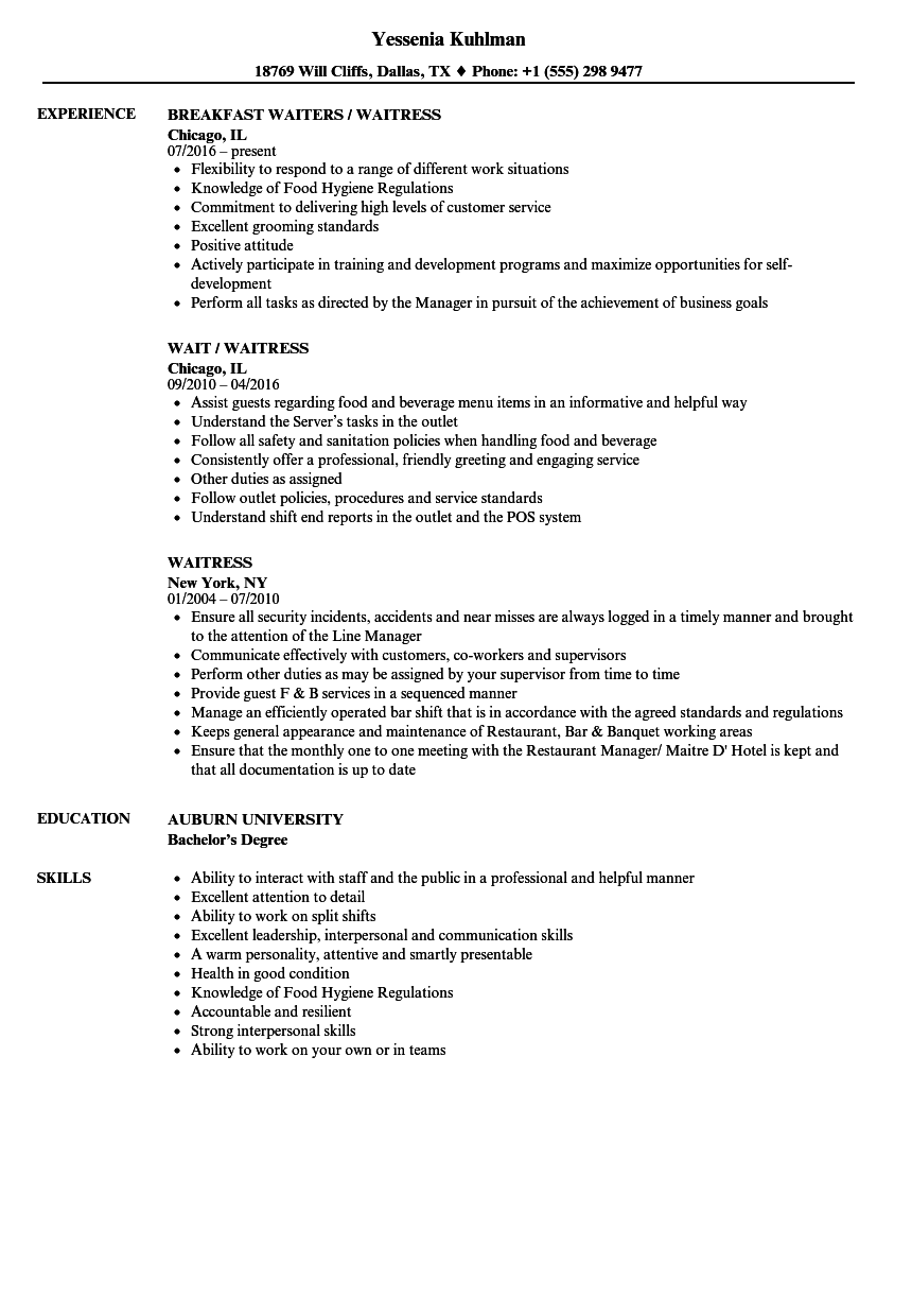 curriculum vitae for waitress