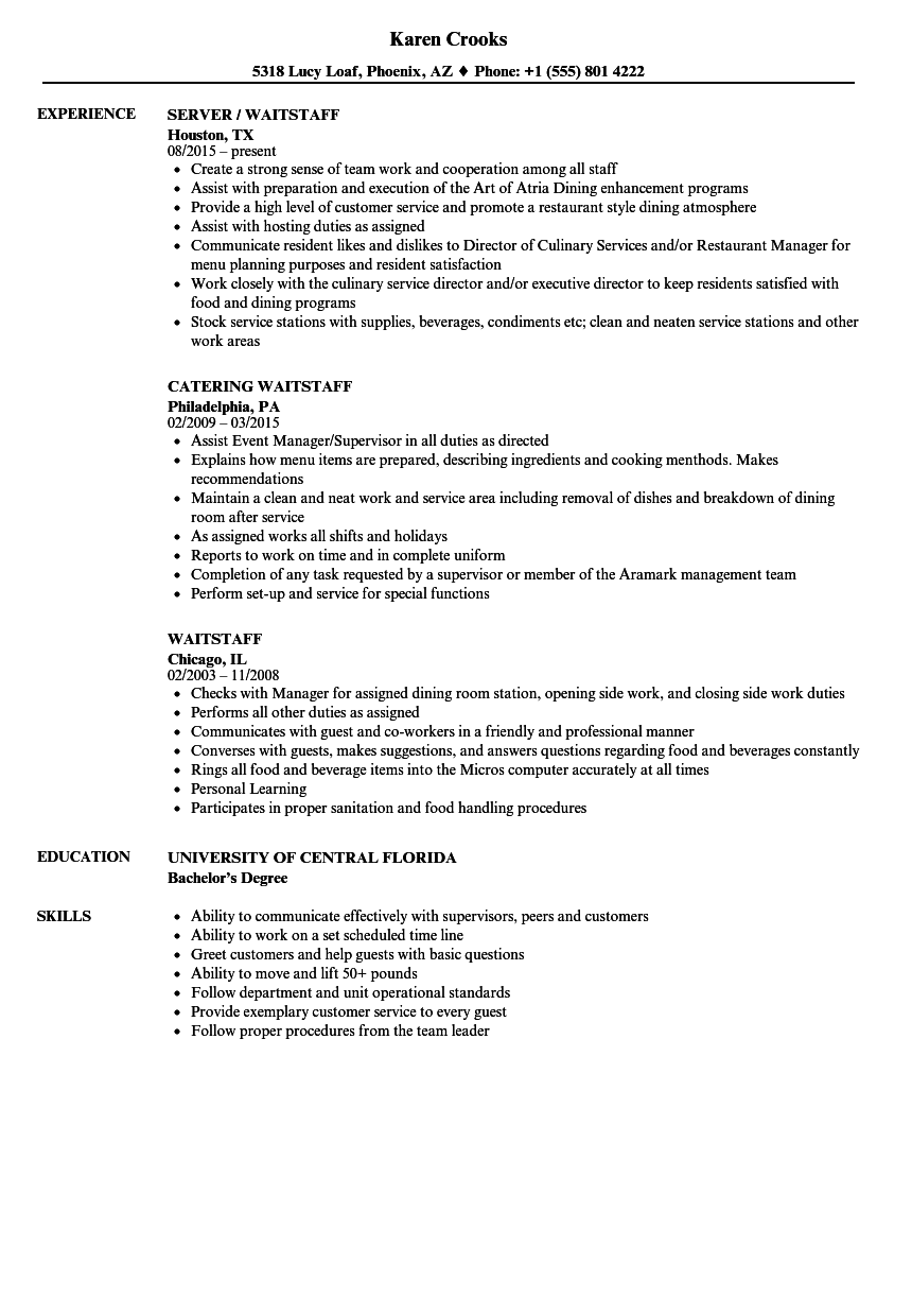 Waitstaff Resume Samples | Velvet Jobs