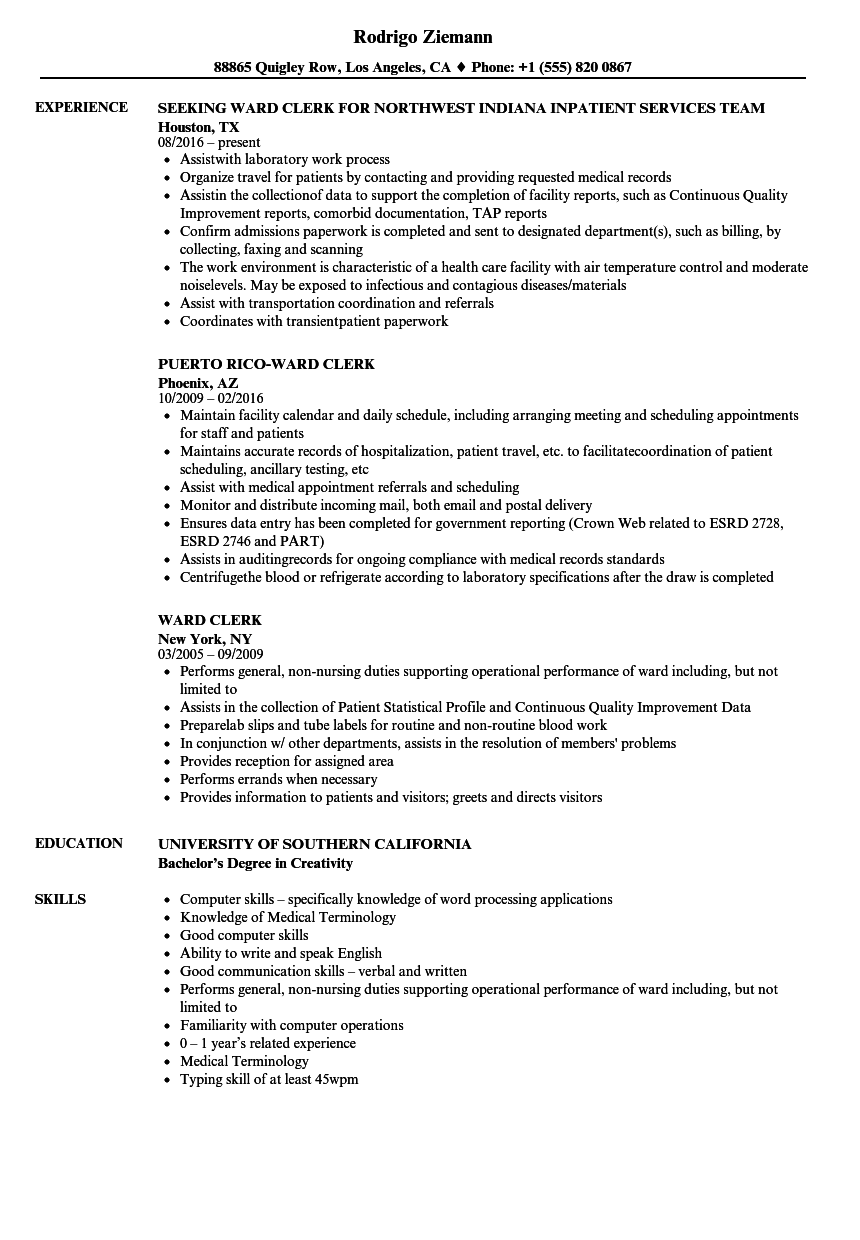 Download Ward Clerk Resume Sample As Image File