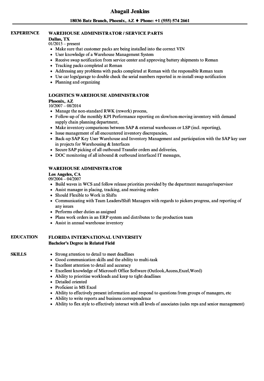 Download Warehouse Administrator Resume Sample As Image File